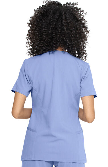 Women's Notched Solid Scrub Top & Cargo Scrub Pant Set, , large