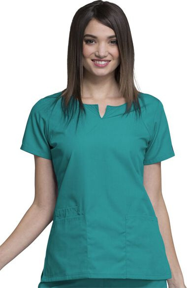 Women's Round Neck Solid Scrub Top, , large