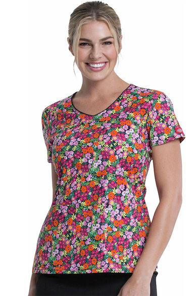 Women's Stay On Tropic Print Scrub Top, , large