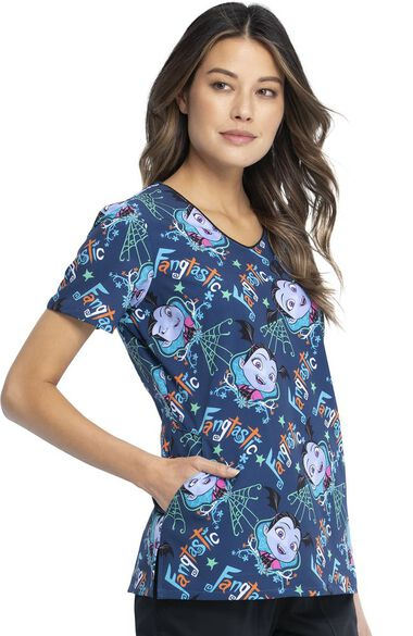 Clearance Women's Vampirina Print Scrub Top, , large