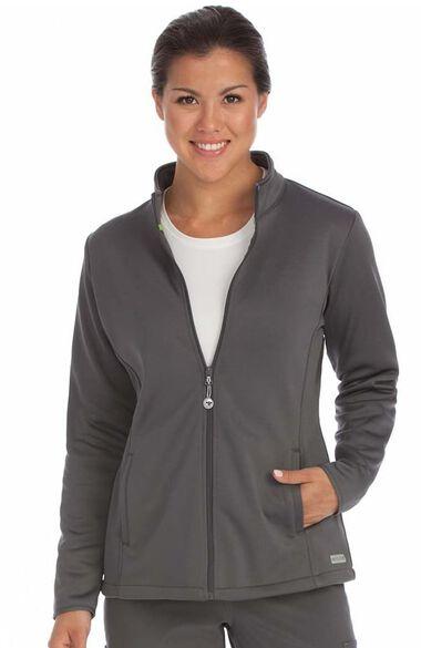Women's Med Tech Zip Front Solid Scrub Jacket, , large