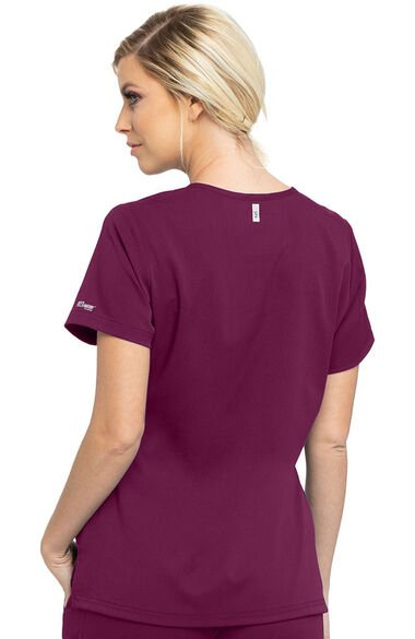 Spandex Stretch by Grey's Anatomy Women's Bree Tuck-In Solid Scrub Top, , large