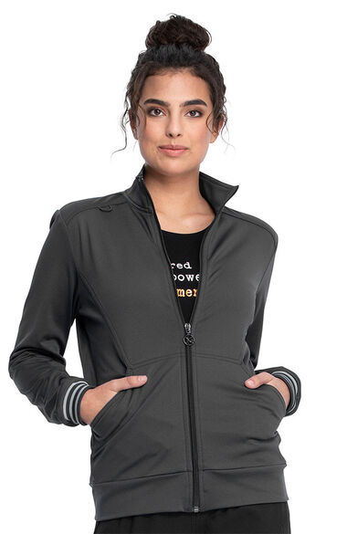 Women's Zip Front Knit Solid Scrub Jacket, , large