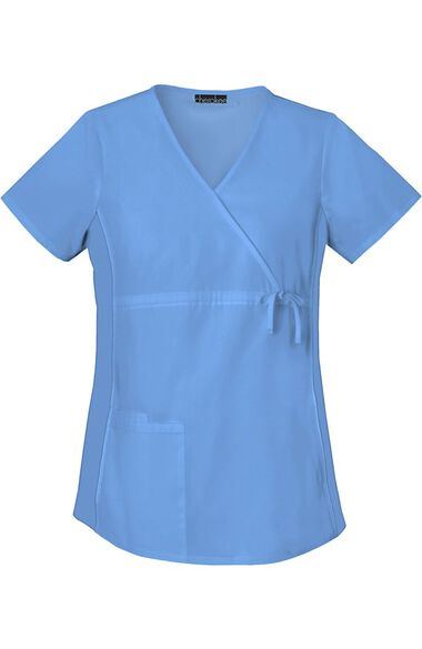 Clearance Women's Maternity Mock Wrap with Stretch Side Panels Solid Scrub Top, , large