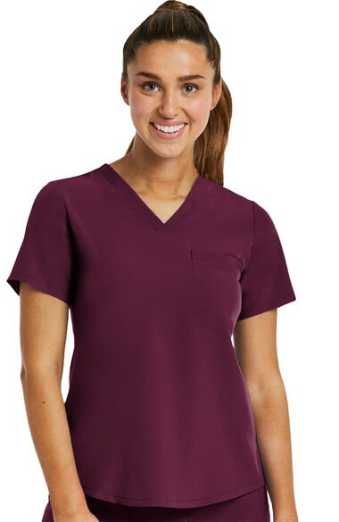 Women's Tuck In Solid Scrub Top, , large