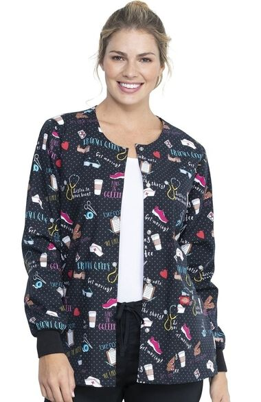 Clearance Women's Snap Front We Stick Together Print Scrub Jacket, , large