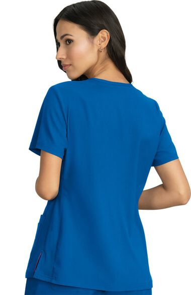 Women's Skye V-Neck Knit Side Panel Solid Scrub Top, , large
