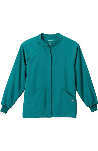 Clearance Unisex Snap Front Warm Up Solid Scrub Jacket, , large