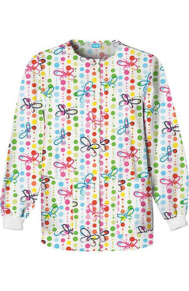 Women's Crew Neck Butterfly Dots Print Jacket, , large