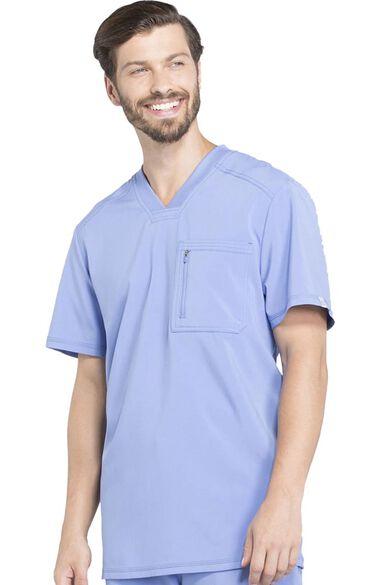 Men's V-Neck Knit Panel Solid Scrub Top, , large