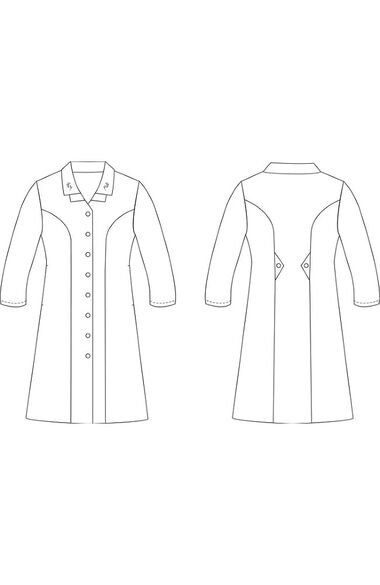 Women's Long Sleeve Embroidered Collar Scrub Dress, , large