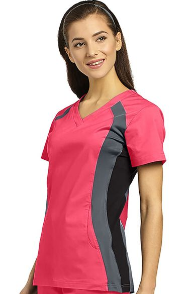Clearance Women's V-Neck Side Panel Solid Scrub Top, , large