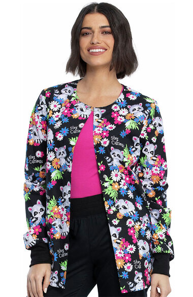 Women's Stay Curious Print Scrub Jacket, , large