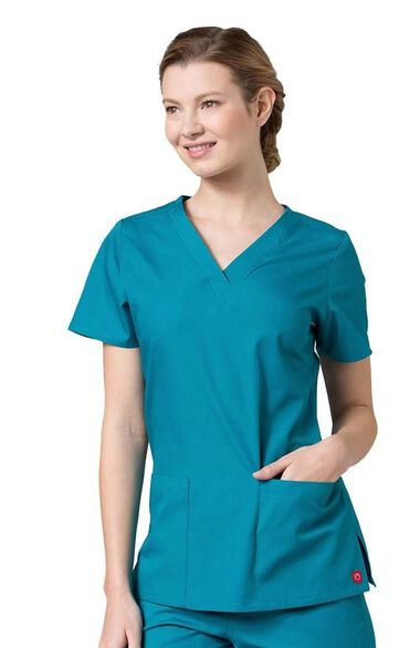 Women's V-Neck Two Pocket Solid Scrub Top, , large