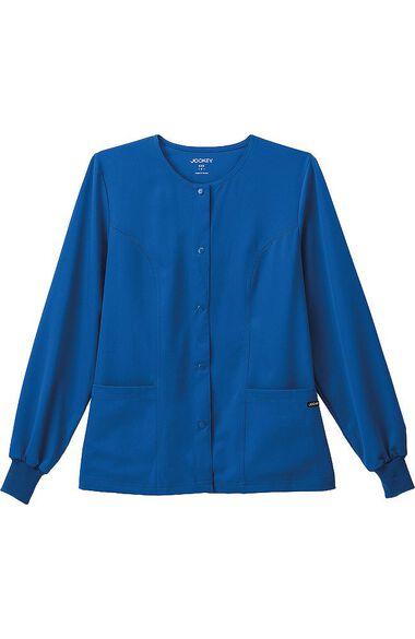 Women's Round Neck Solid Scrub Jacket, , large