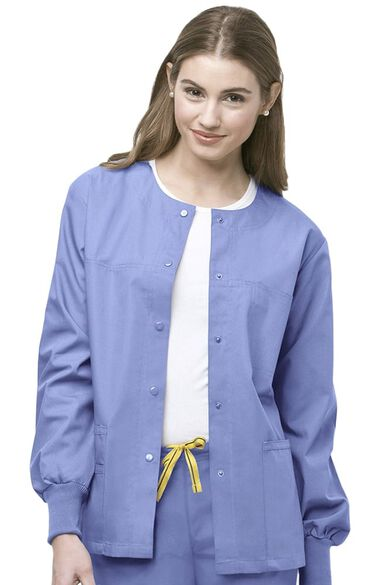 Clearance Unisex Delta Snap Front Solid Scrub Jacket, , large