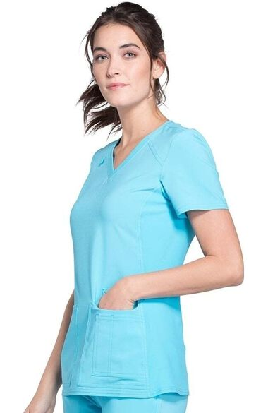 Women's V-Neck Knit Panel Solid Scrub Top, , large
