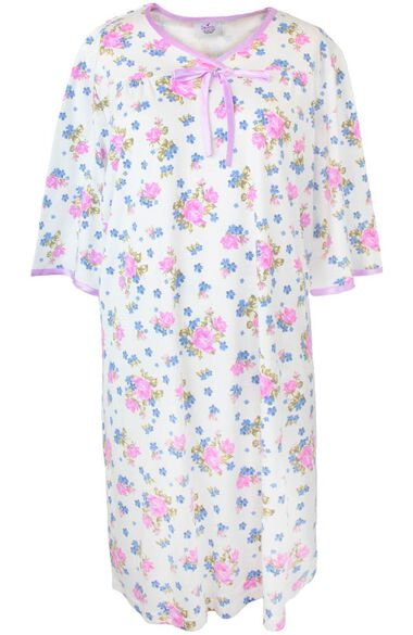 Silvert's Women's Open Back Knit Floral Print Nightgown, , large