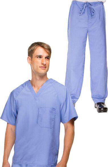 Men's V-Neck Scrub Top & Drawstring Scrub Pant Set, , large