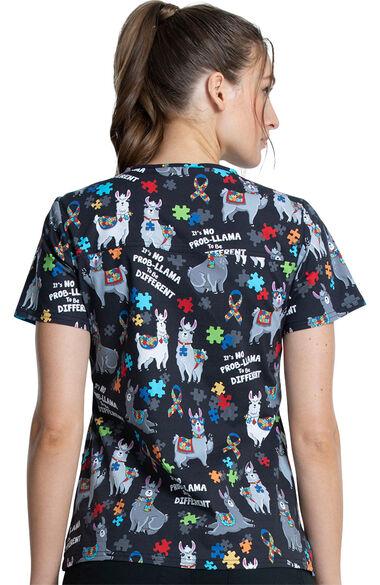 Women's Llama Love Print Scrub Top, , large