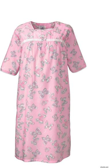 Silvert's Women's Adaptive Lacey Print Patient Gown, , large