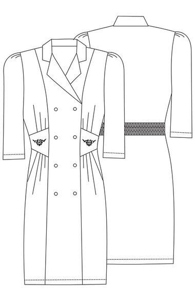 Women's Fitted Midriff Scrub Dress, , large