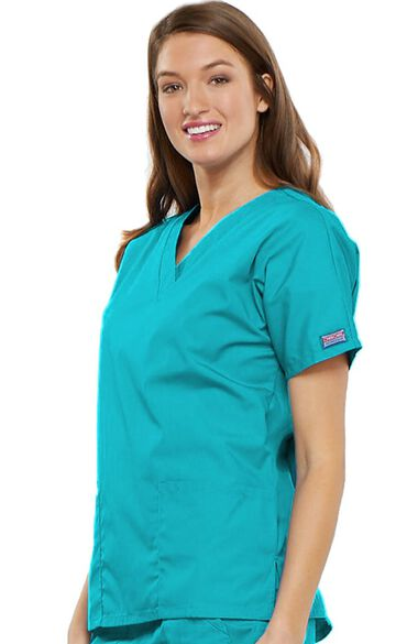 Women's V-Neck 2 Pocket Solid Scrub Top, , large