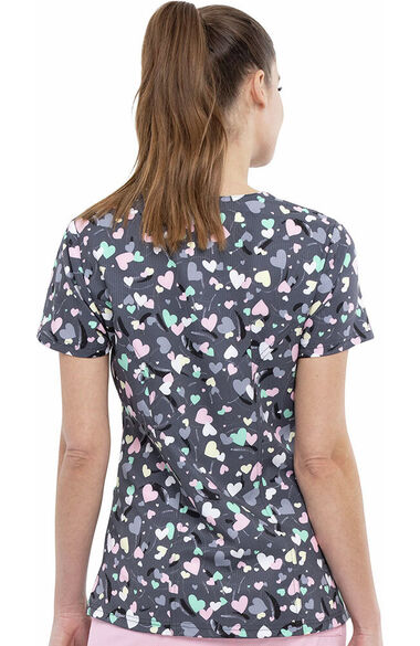 Women's Open Hearted Print Scrub Top, , large