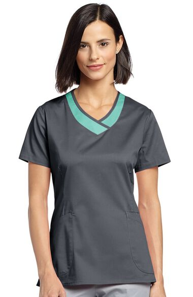 Clearance Women's Curved V-Neck Solid Scrub Top, , large