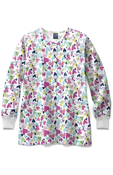 Clearance Women's Bold And Brave Print Scrub Jacket, , large