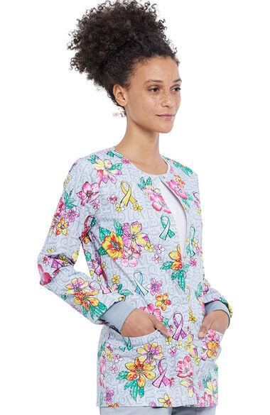 Women's Friendly Flowers Print Scrub Jacket, , large