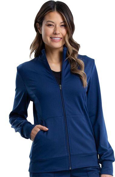 Women's Knit Solid Scrub Jacket, , large