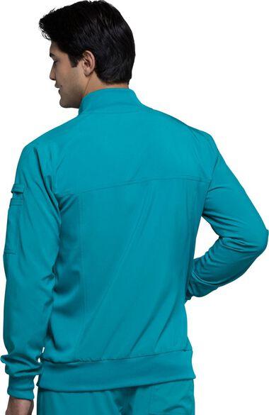 Men's Zip Front Warm-Up Solid Scrub Jacket, , large