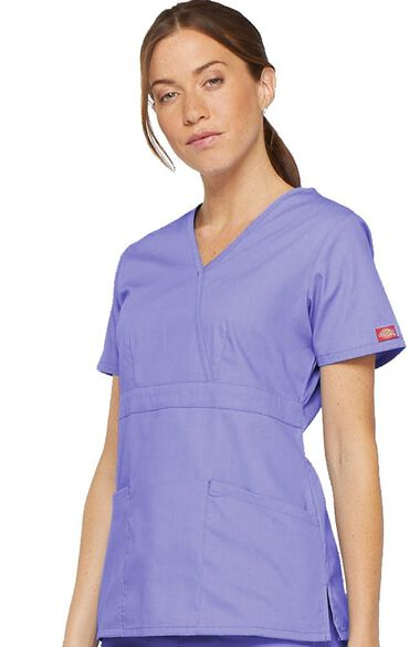 Women's Mock Wrap Solid Scrub Top, , large