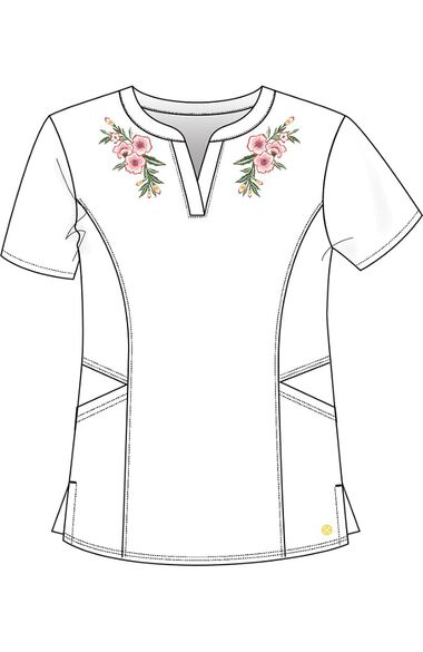 Clearance Women's Split Neck Floral Embroidered Solid Scrub Top, , large