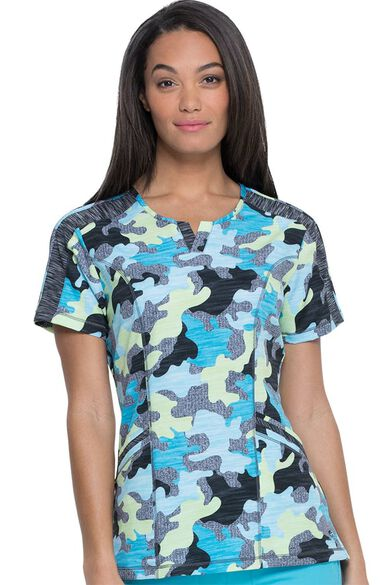 Clearance Women's Shaped V-Neck Totally Textured Camo Print Scrub Top, , large