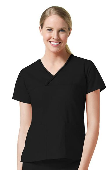 Clearance Women's Y-Neck Mock Wrap Solid Scrub Top, , large