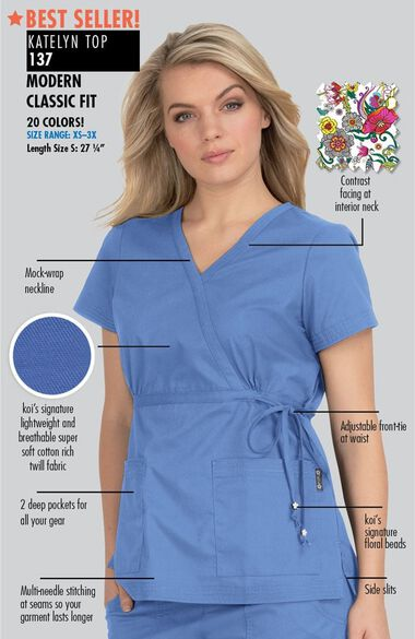 Women's Katelyn Wrap Solid Scrub Top, , large