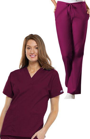 Women's V-Neck Scrub Top & Drawstring Pant Set, , large