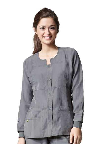 Women's Button Front Solid Scrub Jacket, , large