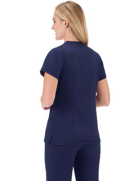 Clearance Women's Mesh Trim V-Neck Solid Scrub Top, , large