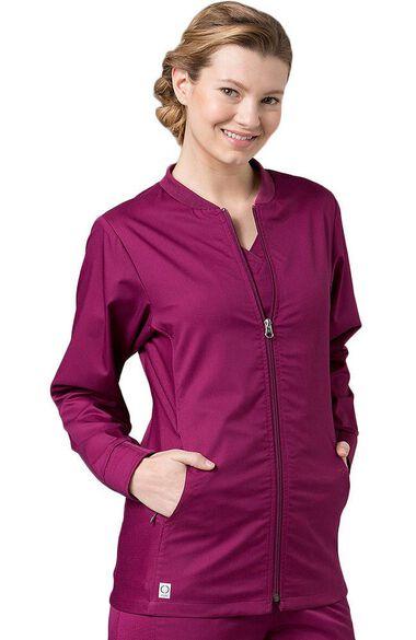 Women's COOLMAX Mesh Panel Solid Scrub Jacket, , large