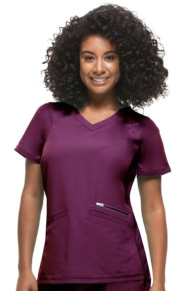 Women's Serena V-Neck Solid Scrub Top, , large
