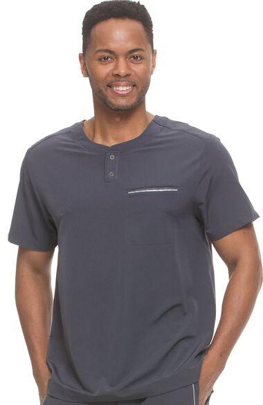 Men's Shawn Round Neck Henley Solid Scrub Top, , large