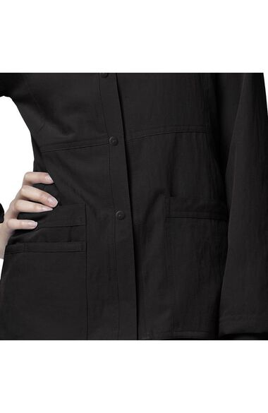 Clearance Women's Button Front Solid Scrub Jacket, , large