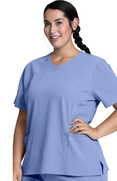 Women's Notched Solid Scrub Top, , large