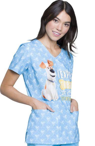 Clearance Women's V-Neck Secret Life of Pets Print Scrub Top, , large