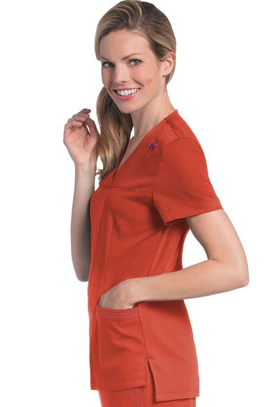 Clearance Women's Melissa Y-Neck Solid Scrub Top, , large