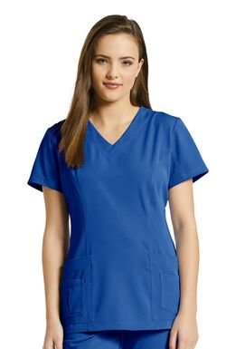Women's Shaped V-Neck Solid Scrub Top with Pockets