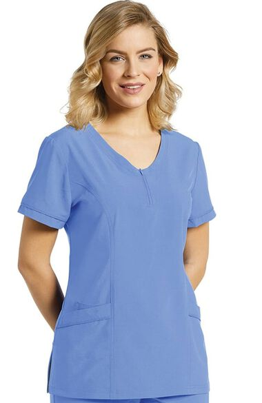 Clearance Women's Scoop Zip Neck Solid Scrub Top, , large
